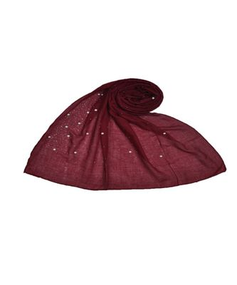 Stole For Women  - Fabric - Cotton - Rain Drop Hijab With Big and Small Dew Drop Beats  - Maroon - Size - 75/185 CM