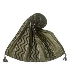 Dark Green Cotton   Premium Stole