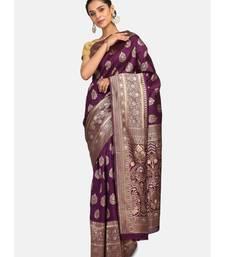 Purple Poly Silk Designer Party Wear Saree