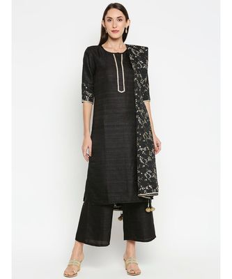 Black Solid kurta with Trouser and foil printed Dupatta