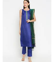 Royal Blue Solid kurta with Trouser and Dark Green Dupatta