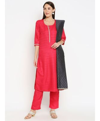 Red Solid kurta with Trouser and Black Dupatta