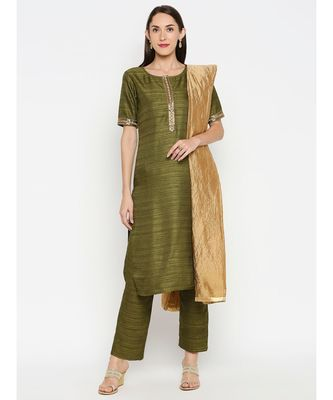Mehendi Green Solid kurta with Trouser and Beige Dupatta