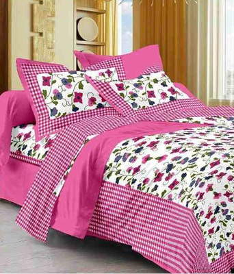 Noor Startup Handprinted 120 TC Cotton Queen Size Bedsheet With Pillow Cover Set (90x100)