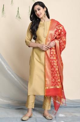 Gold plain polyester salwar