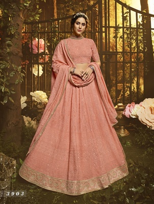 Peach embroidered georgette semi stitched lehenga