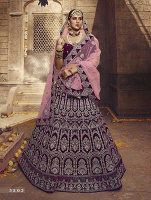 Wine embroidered georgette semi stitched lehenga
