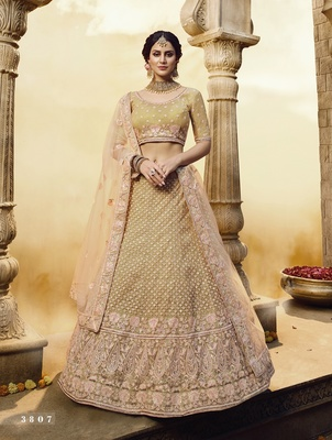 Golden embroidered georgette semi stitched lehenga