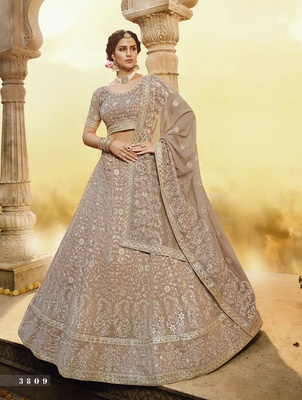 Light-brown embroidered georgette semi stitched lehenga