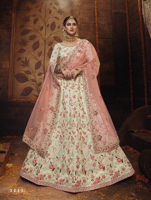 Off-white embroidered georgette semi stitched lehenga