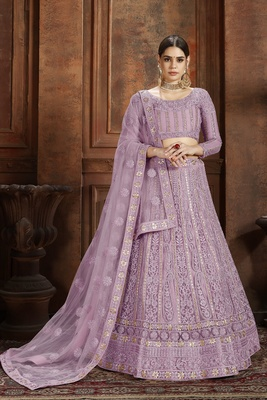 Purple embroidered net semi stitched lehenga