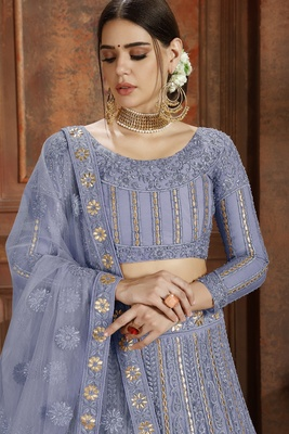 Sky-blue embroidered net semi stitched lehenga