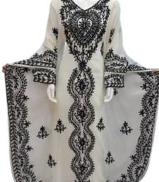 Off White Zari Stone Work Georgette Islamic Style Beads Embedded Partywear Kaftan Long Gown Evening wear Dubai kaftan