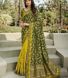 Mehendi embroidered banarasi silk saree with blouse