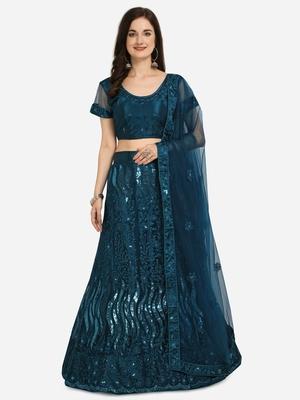 Blue embroidered net semi stitched lehenga