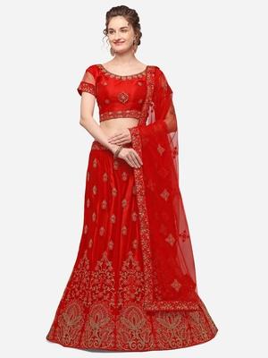 Red embroidered net semi stitched lehenga