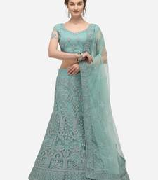 Sea-green embroidered net semi stitched lehenga