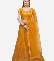 Yellow embroidered net semi stitched lehenga