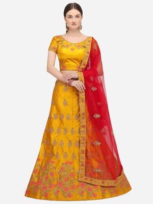 Yellow embroidered silk semi stitched lehenga