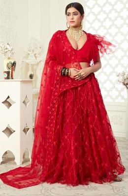 Red embroidered art silk semi stitched lehenga