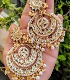 Designer kundan stone bridal dangler pearl stone earrings studs