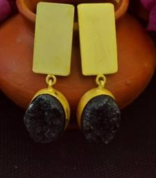 Black agate druzzy stone danglers-drops studs earrings