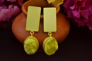 Yellow agate druzzy stone danglers-drops studs earrings