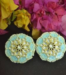 Turquoise Meenakari Work With pearl Stone Border studs