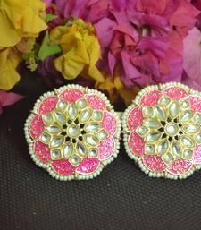 Pink Meenakari Work With pearl Stone Border studs