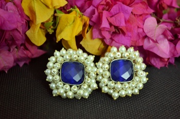 Blue Bunched Pearls onyx Stone Wedding studs