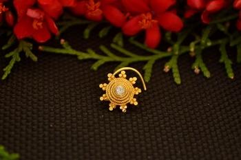 Designer diamond gold plated premium brass based nose ring or nose pin
