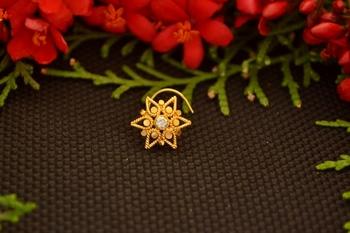 Designer diamond gold plated premium nose ring or nose pin