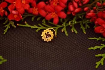 Designer diamond gold plated premium meenakari nose ring or nose pin