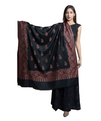 Fine Wool  Paisely Designer Border with Jaal  Kashmiri  Jacquard Wooven Soft & Warm Shawl / Stole/ Wrap