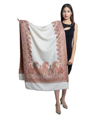 Fine Wool  Paisley Palla with Designer Border  Kashmiri Woven Soft & Warm Stole / Shawl / Scarf