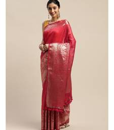 Red Pure Linen Solid Handloom Banarasi Saree