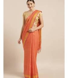 Orange Pure Linen Solid Bhagalpuri Saree