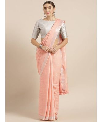 Pink Pure Linen Woven Design Bhagalpuri Saree