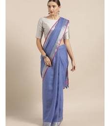 Blue Pure Linen Solid Bhagalpuri Saree