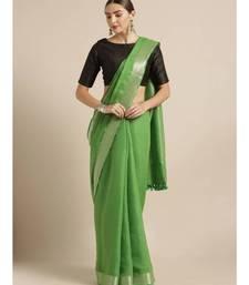 Green Pure Linen Solid Bhagalpuri Saree