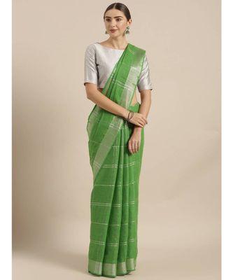 Green & Silver-Coloured Pure Linen Checked Bhagalpuri Saree