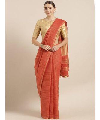Orange Pure Linen Checked Bhagalpuri Saree