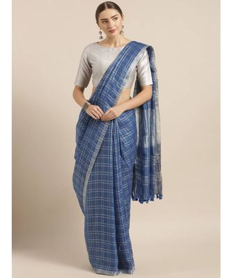 Navy Blue & Silver-Toned Pure Linen Checked Bhagalpuri Saree