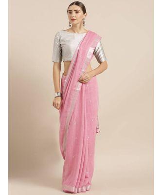Pink Linen Blend Solid Bhagalpuri Saree