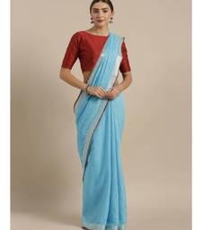 Blue & Silver-Coloured Linen Blend Solid Bhagalpuri Saree
