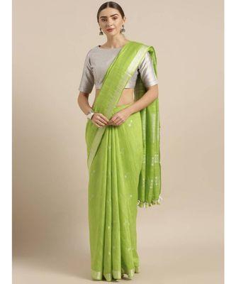 Green Linen Blend Solid Bhagalpuri Saree