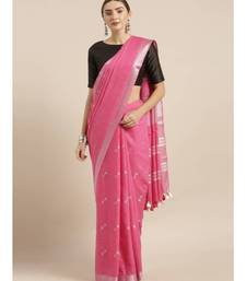 Pink Linen Blend Woven Design Bhagalpuri Saree