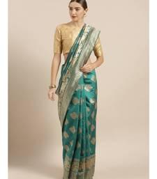 Green & Gold-Coloured Art Silk Woven Design Bhagalpuri Saree
