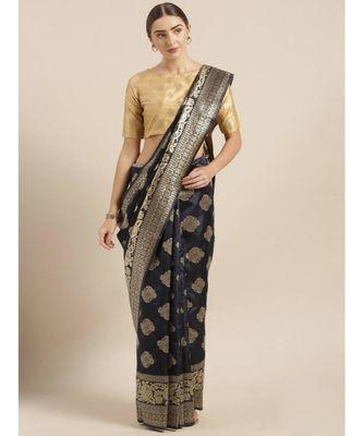 Navy Blue & Gold-Toned Art Silk Woven Design Bhagalpuri Saree