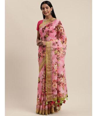 Pink Pure Linen Floral Printed Bhagalpuri Saree